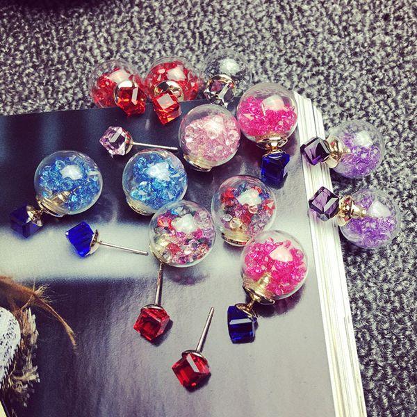 2018 Stud Earrings for Women Rhinestone Ear Rings Gift Ideas Crystal Fashion Diamond-jewelry Valentine's Day Earring Studs Korean 10pairs
