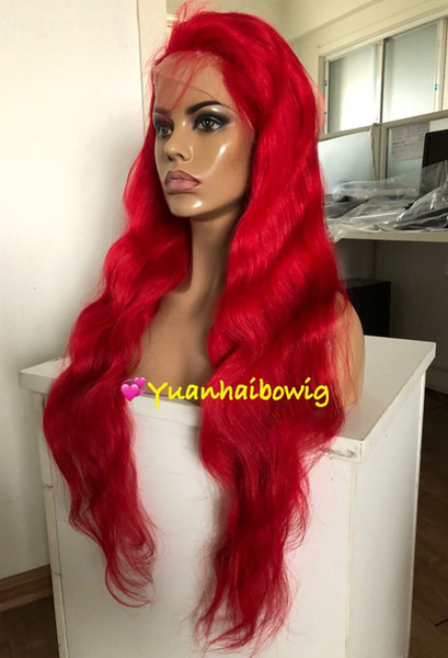 Red Full Lace Wigs Fashion Celebrity Wigs Vigin Malaysian Human Hair Lace Front Wigs Body Wave Free Shipping