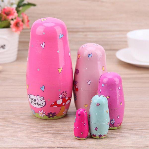 5pcs/Set Basswood Russian Matryoshka Dolls Fantasy Fairy Pink Angel Wooden Nesting Dolls Girls Woodcraft Toy Gift