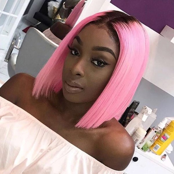 Full Lace Human Hair Wigs Brazilian Virgin Hair Hot Pink Dark Root Bob Lace Wigs Pre Plucked Middle Part