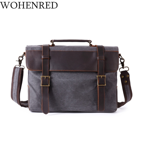 Vintage Canvas Leather Briefcases Men Shoulder Bags Casual Computer Laptop Bag Multifunction Satchel School Messenger Bag Male