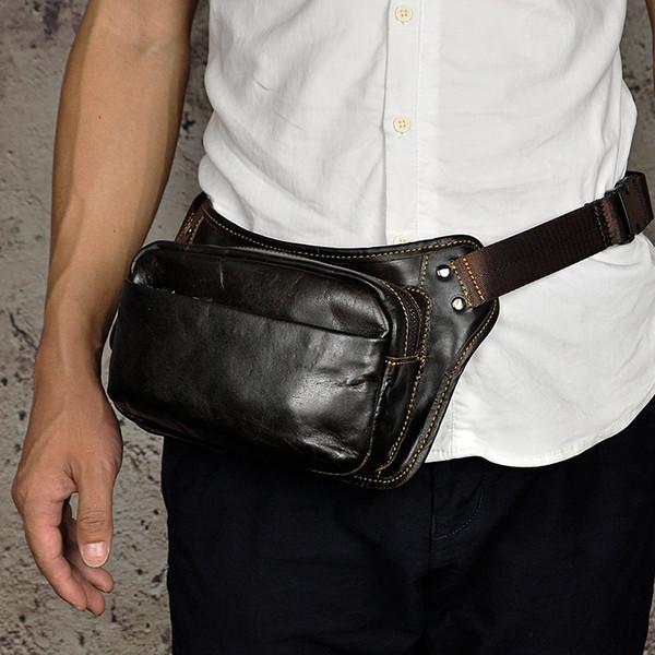 New vintage Men crazy horse Genuine Leather Belt Bum Fanny Pack Waist Bag Vintage Travel Shoulder Messenger Hip Sling Chest Pack