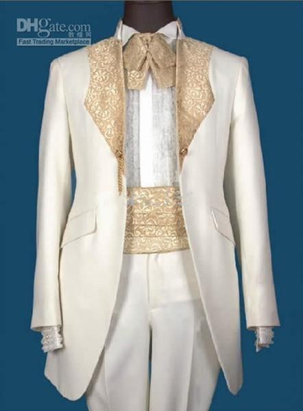 Yeni Sıcak satış Yakışıklı Beyaz Damat Smokin Groomsmen Erkekler Blazer Düğün Giyim Iş Takımları (Ceket + Pantolon + Kuşak + Kravat) 203