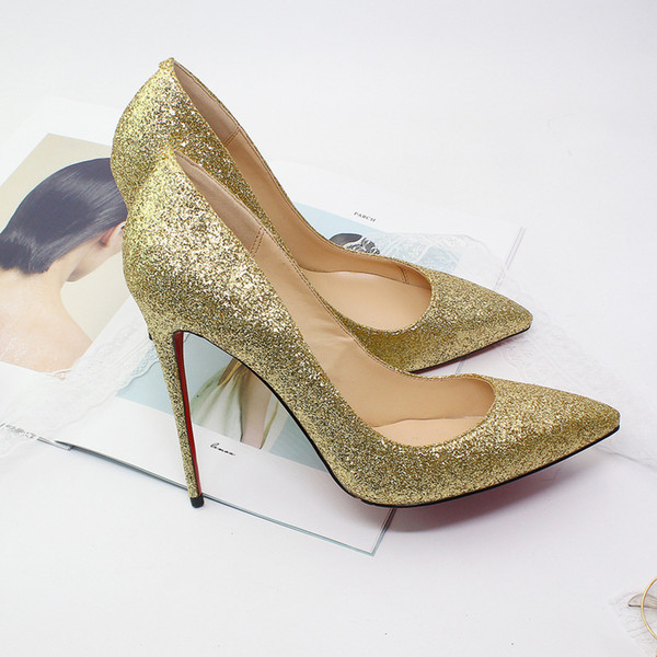 Customized large size multicolors stiletto high heels 12cm pointed toe sequins banquets pumps pink wedding shoes red sole