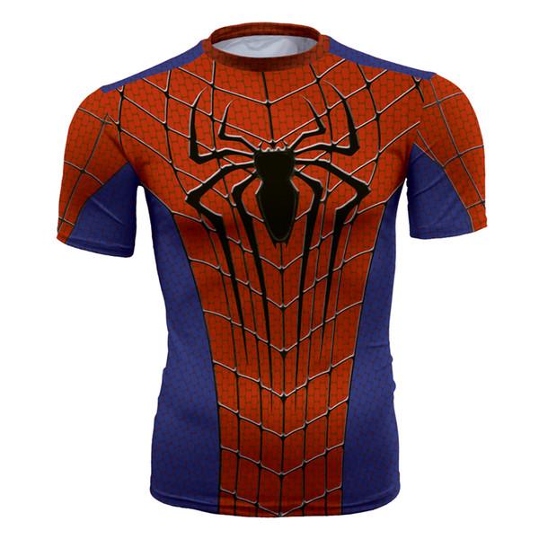 Men's fashion creativity t-shirt superman tights tee superhero new Spider-Man sport short sleeves cycling fast dry basketball vest