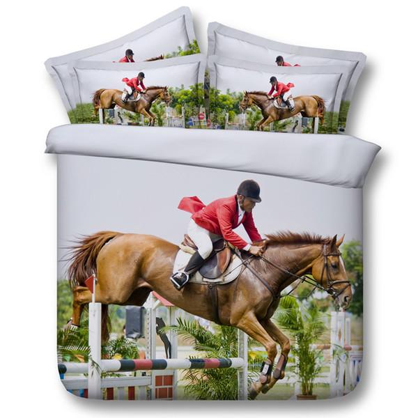 Juegos de cama de caballos de carreras de animales en 3D funda nórdica colchas cubrecama cubierta de edredón sábanas edredones fundas de almohada fundas de almohada para adultos niños hombres