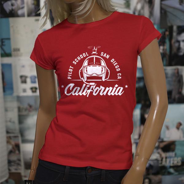 Tee-shirts pour femmes - Vêtements pour femmes - T-shirts - T-shirts California Pilot School Aviator - Vente Chaude Femmes Rouge Drôle Tee Shirts