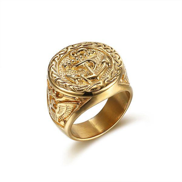 Anello punk vintage in acciaio inox con anello di ancoraggio per gioielli maschili per adulti di alta qualità