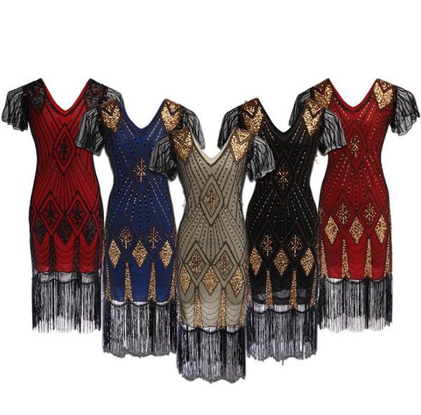 Venta al por mayor de fábrica de las nuevas mujeres de la vendimia vestidos de 1920 Floary Beaded Flapper Dress con mangas Gatsby Show Costume envío gratis