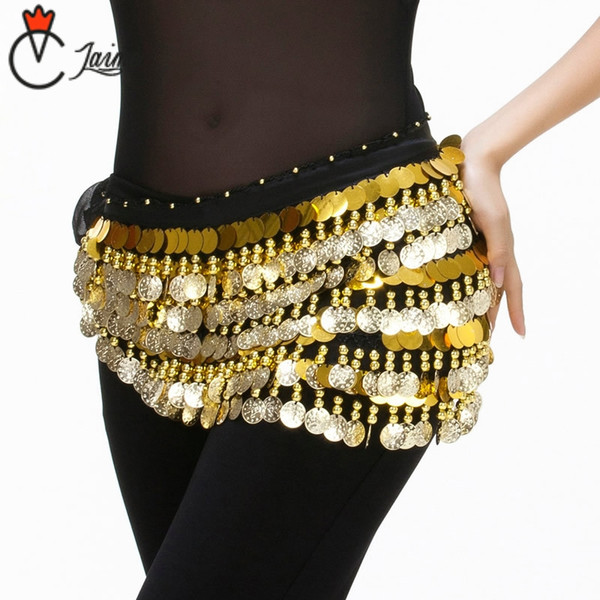 2018 Cheap Dancewear Women Bellydance Clothes Accessories Practice Hip Scarf 288 Coins Belt Gold Belly Dance Hip Belts