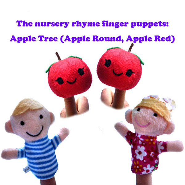 4pcs Finger Puppe Plüschtiere der Kinderreim Fingerpuppen Apple Round Apple Red Baby Aufklärung Bildung Besseres Lernen