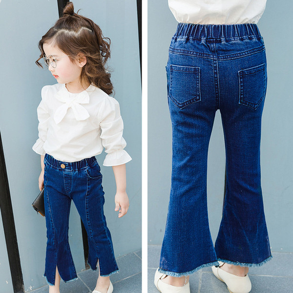 Hot Bunny Children's Cute Pants 3-9-year-old blue stitching cotton girl jeans split hood pants boot cut