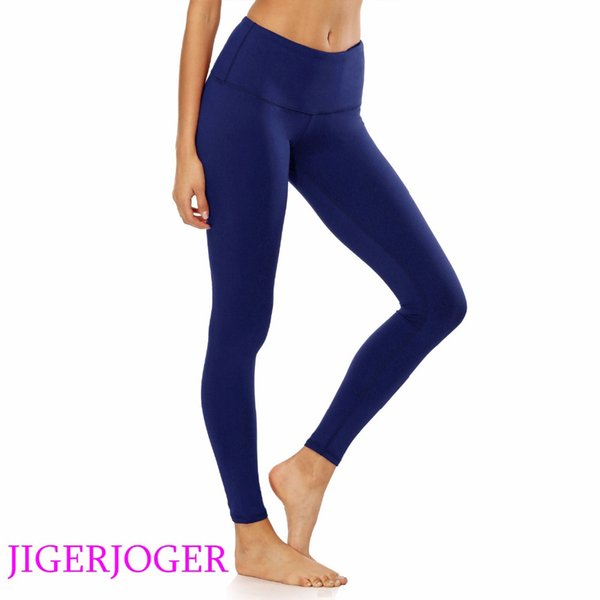 JIGERJOGER Brand quality high Rise with pocket Navy blue pilate compression tight pants Women's yoga Leggings free drop shipping