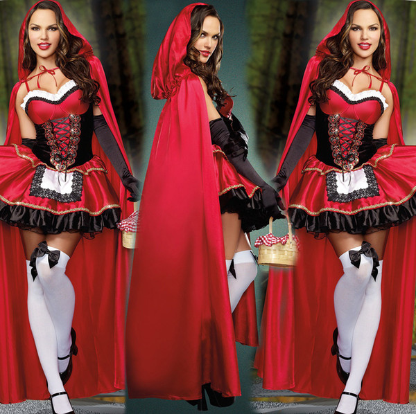 Hot Sale Witch Costumes Dress Holloween Cosplay For Women Christmas Little Red Riding Hood Fairy Tale Witch Costume Perform