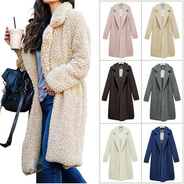 S-3XL Women Sherpa Sweater Cardigan Fashion Ladies Warm Pure Color Artificial Wool Coat Jacket Long Sleeve Lapel Fleece Soft Witer Outerwear