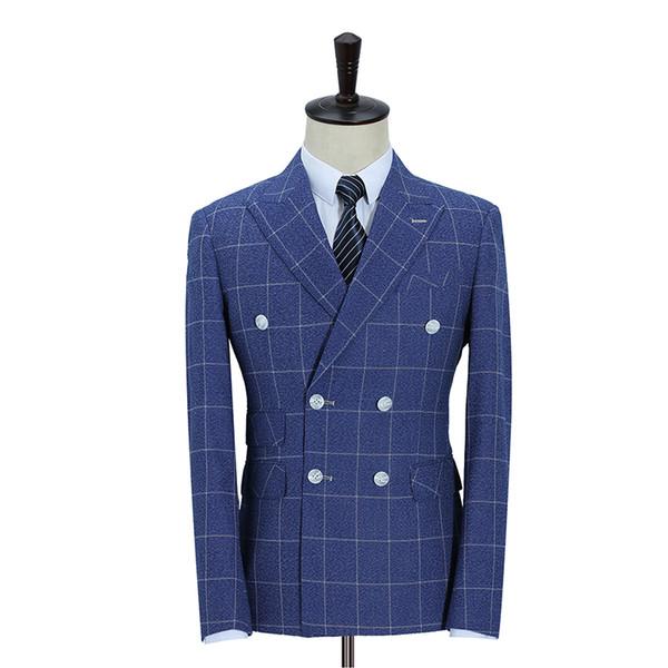 2019 Son Coat Pantolon Yelek Üç Piece Çift Breasted Suit Set Erkekler Slim Fit Mavi Ekose Biçimsel Kostüm Giydirme Skinny Takımları