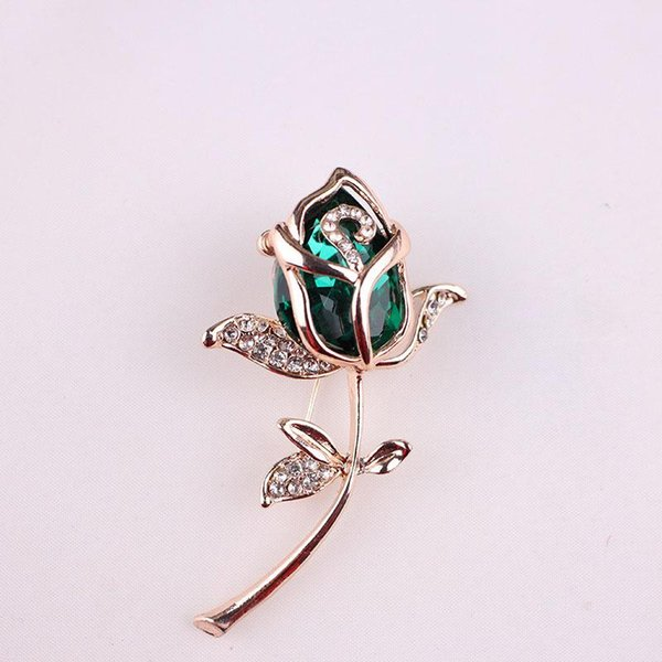 Wholesale- New Fashion Crystal Rose Flower Brooch Pin Rhinestone Alloy Rose Gold Brooches Birthday Gift Garment Accessories 367826