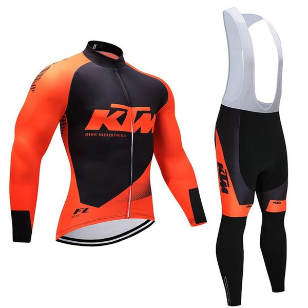 KTM team Cycling long Sleeves jersey (bib) pants sets New cycling clothing Spring Autumn style Breathable Quick Dry Comfortable J10902
