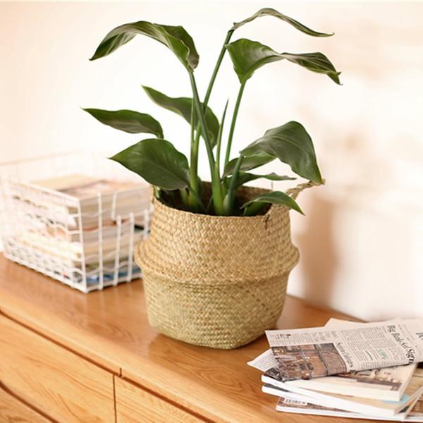 Storage Baskets S +M 2pcs /Set Garden Plant Flower Pot Planter Rattan Floor Nursery Pots Bonsai Home Balcony Decoration Accessories