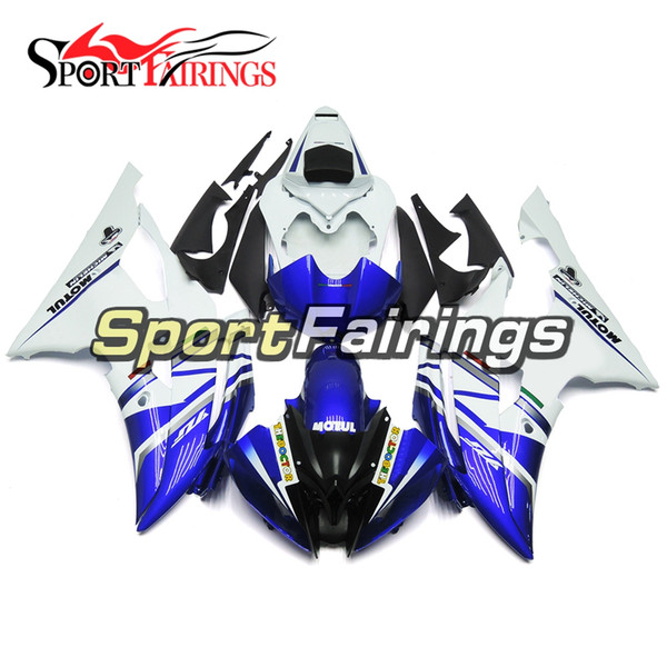 FLAT White Blue Motorcycles Fairings For Yamaha YZF600 R6 YZF-R6 2008 - 2016 09 10 12 13 Injection ABS Plastic Motorcycle Body Kits New Hull