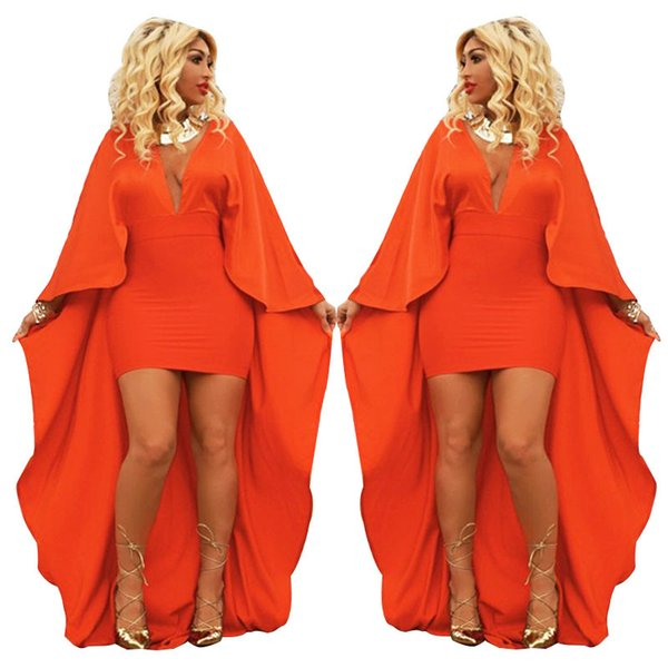 Hot Fashion Orange High Front Low Back Evening Party Dresses Sexy Deep v Neck Long Sleeves Women Pencil Dress Real Picture 2018 New Arrival