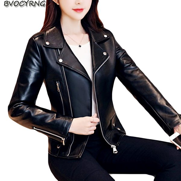 Female 2018 New Design Spring Autumn PU Leather Jacket Faux Soft Leather Coat Slim Black Zipper Motorcycle Jackets K0517