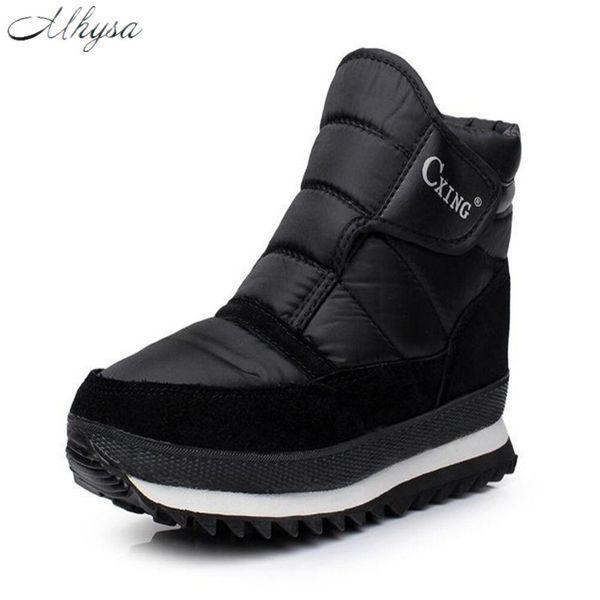 Mhysa 2018 Hommes Bottes Solid Black bottes de neige pour hommes HookLoop épais peluche imperméable chaud chaud chaussons S830