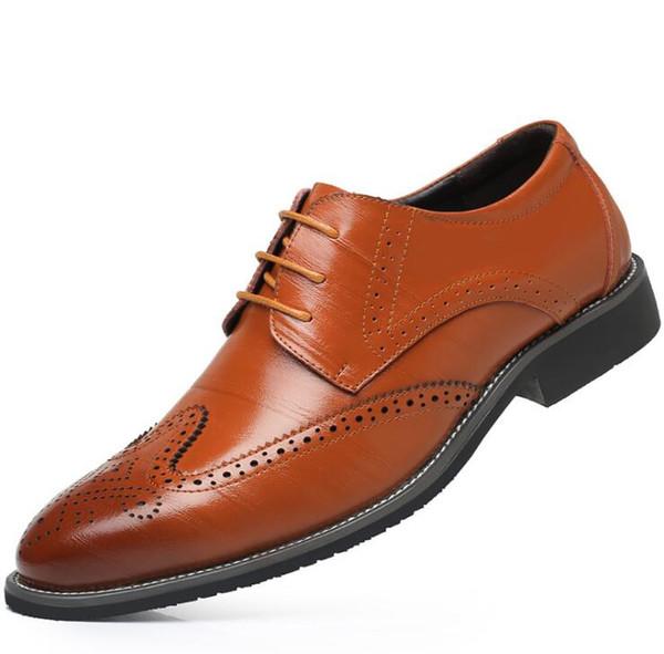Genuino Brogue Marrón Tallado Hombres 2018 Cuero Oxfords En Estilo De Lujo Zapatos Británico vWqPf6A
