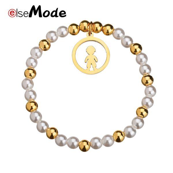 ELSEMODE Romantische Mädchen Junge Handgemachte Stretch Perle Perlen Armbänder Gold Edelstahl für Frauen Geschenke Schmuck Zubehör
