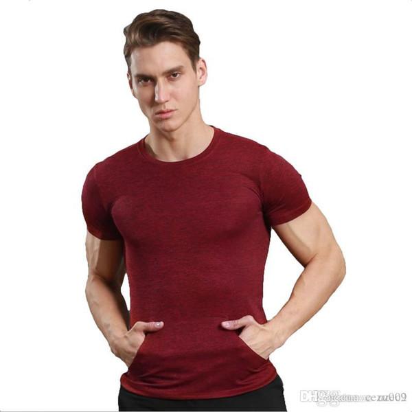 Спортивная повседневная с коротким рукавом мужской тонкий воротник футболки