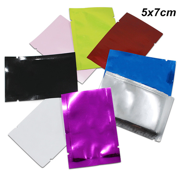 200pcs 5x7cm Colorful Aluminum Foil Heat Seal Open Top Packing Bags for Candy Snack Cookies Vacuum Heat Sealable Mylar Food Storage Pack Bag