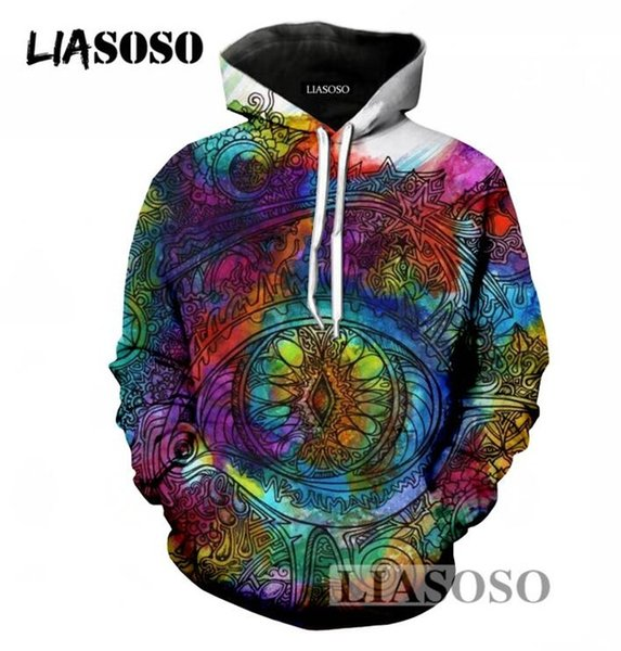 LIASOSO Men/Women Long Sleeve Hoodies 3D Print Psychedelic Skull Hooded Sweatshirt Harajuku Pullover Brand Tops
