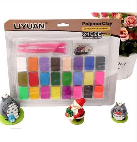 3 ferramentas + liyuan 24 cores forno de cozimento conjunto de argila do polímero diy modelagem fimo moldagem crianças crianças brinquedos educativos