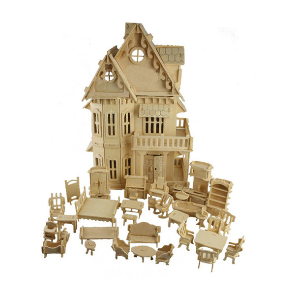 Toy 3D Puzzle DIY Play cube Gothic Dolls House Wooden Scale Models 1 Sets=1*House + 34*pcs Furniture 30*18*45CM