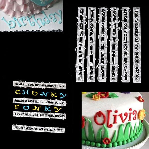 6 teile / satz Alphabet Buchstaben Zahlen Tappits Frill Edge Fondant Gum Paste Schneider Kuchen Cookie Backen zubehör Form Schablone Werkzeuge