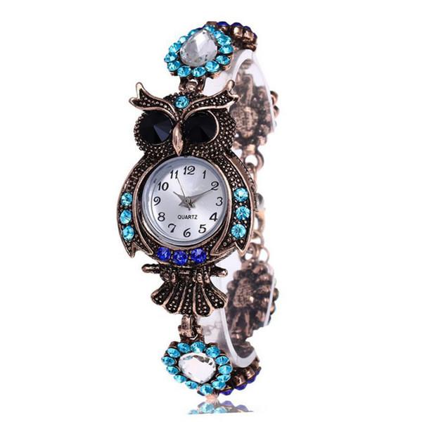 Elegant Quartz Bracelet Wristwatch Unique Round Case Crystal Vintage Owl Woman Rhinestone Flower Strap Fashion Accessories