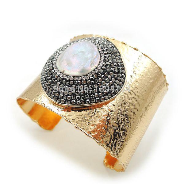 Natural Pearl Round Pave CZ Thread Bracelet Gold Color Adjustable 2.5 Inch