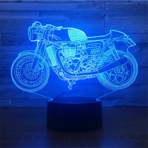 New Coming Design DC 5V USB Powered AA Battery Autobike Pattern 3D Illusion Lamp LED Night Light