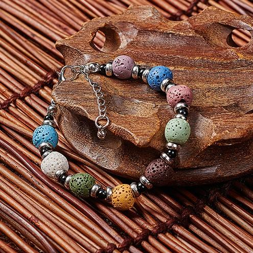 Lava Stone Bracelet Bohemian Multicolor Bracelets Bangles For Women Fashion womens Jewelry Jewellery Essential Oil Diffuser Bangle