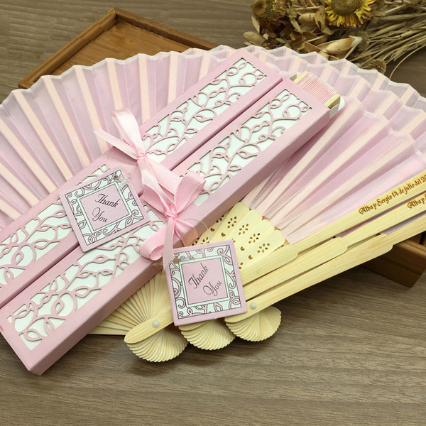 10pcs Hand Fans Spun Silk Wedding Fans with Laser Cut Gift Box Wedding Gifts for Guests