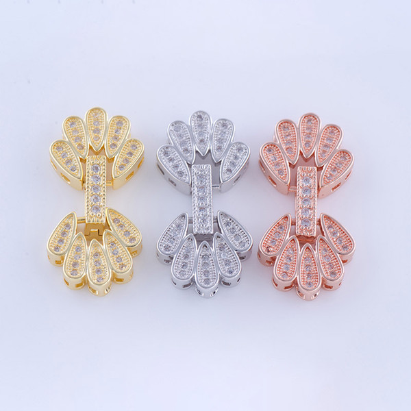 Wholesale DIY Handmade Jewelry Component Findings Zircon Flower Decoration Connector Clasps Bracelets Necklaces Jewellry Handicraft Fittings