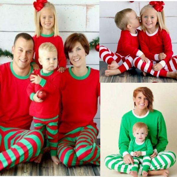 5bfb762af3 family christmas sleepwear set Coupons - Xmas Family Christmas pajamas Red  Green Striped Homewear Nightclothes Pyjamas