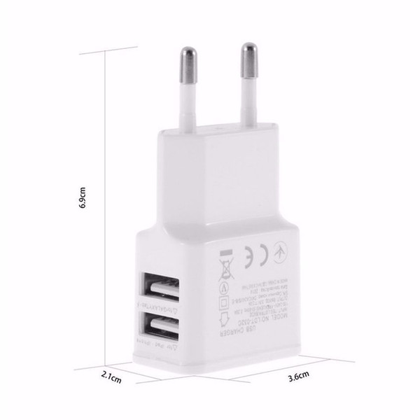 5V 2A EU/US Plug Dual USB 2 Port Mobile Phone Travel Home Wall Charger Adapter 2A/1A For Samsung iPhone LG HTC Sony White Black