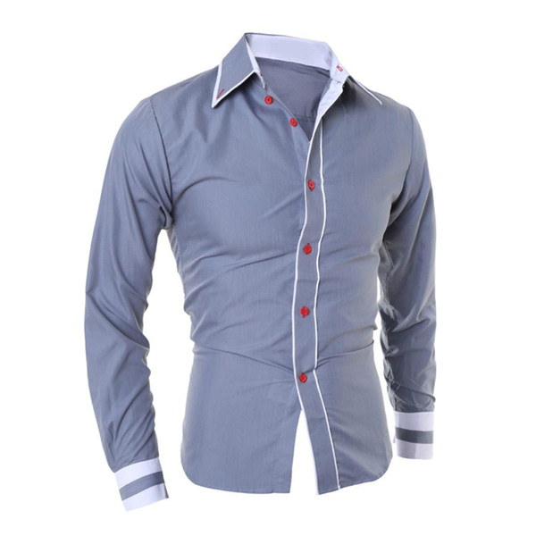 mrwonder 2018 Spring Autumn Men Fashion Slim Casual Shirt Hit Color Lapel Collar Long-sleeved Top