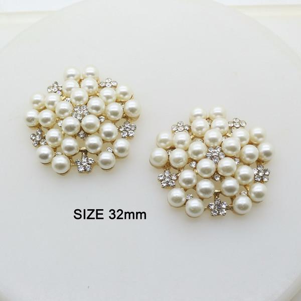10 teile / los 32mm Perle Strass Gold Taste Jewerly Metallknopf Flatback Verschönerung für Hochzeit Haarband Handwerk Dekor