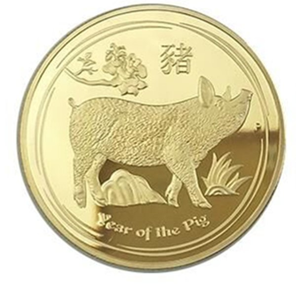 5 pcs Non magnetic 2019 The Year of Pig Chinese lucky animal zodiac gold plated 40 mm badge Elizabeth home collectible decoration coin