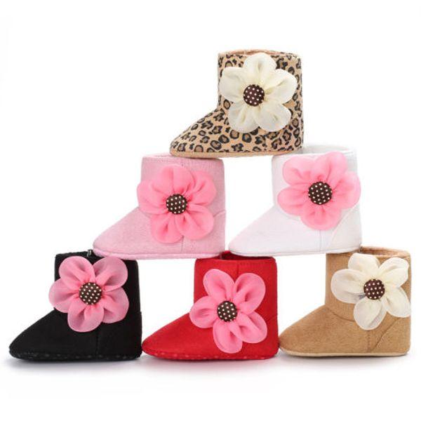 Kar Botları 0-18 M Bebek Çocuk Kız Bebek Ayakkabıları Ön Yürüyüşe Terlik Papatya Çiçek Çizmeler Ayakkabı