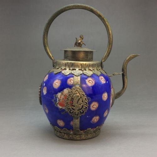 Ручной работы кувшин из синего и белого фарфора в Китае аутсорсинг Тибет silverFree доставка