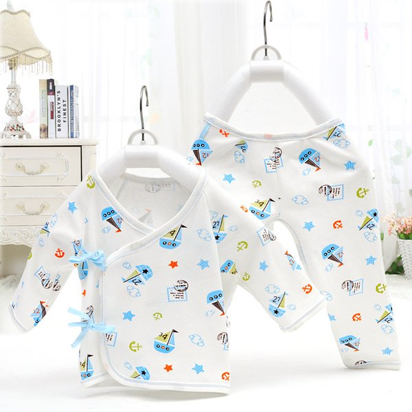 2018 Newborn Baby Clothes Underwear Tops +Pants 2Pcs Boys Girls Warm Sets High Quality Cotton Cartoon Gowns Lace-up Infant Clothes For 0-3M