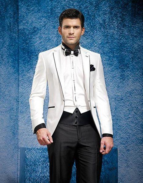 2018 New Style Slim Fit White Jacket Black pants Custom Made Groom Tuxedos Men's Wedding Dresses (Jacket+pants)